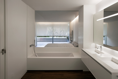 Bathroom With Wash Basin In Corian By DuPont And Fittings By Dornbracht
