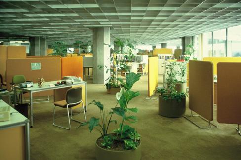 """Das deutsche Planungsbüro """"Quickborner Team"""" gestaltete zwischen 1975 und 1977 die Büroräume der Stadtwerke Karlsruhe"""