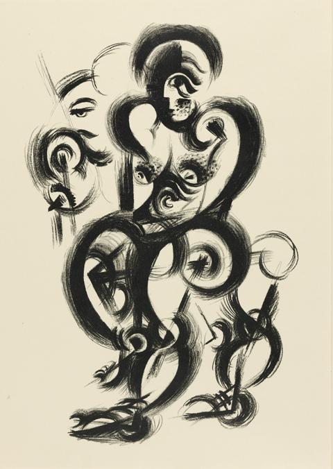 bauhaus kunst johannes itten young woman paper 4 out of 10 originallithographien 1919 archiv berlin vg bild bonn kunstrichtung