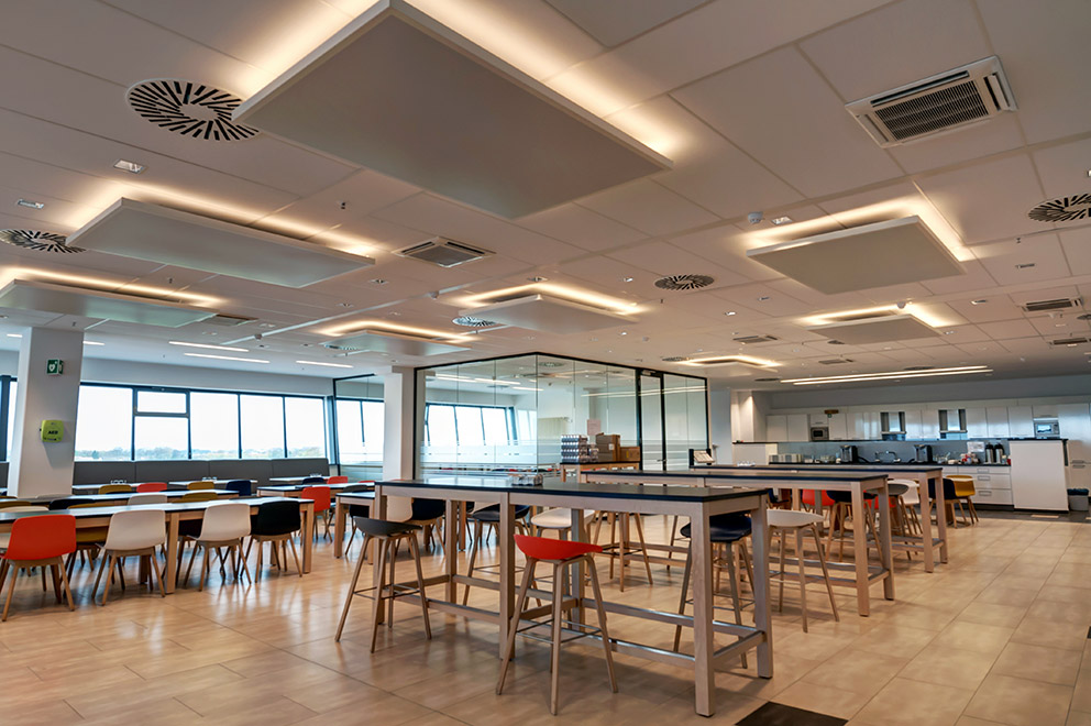 The flat metal ceiling canopies with their micro-perforated surfaces are easy to install are non-combustible and provide ... & Breathe freely and concentrate u2013 with Armstrong ceiling canopies ...