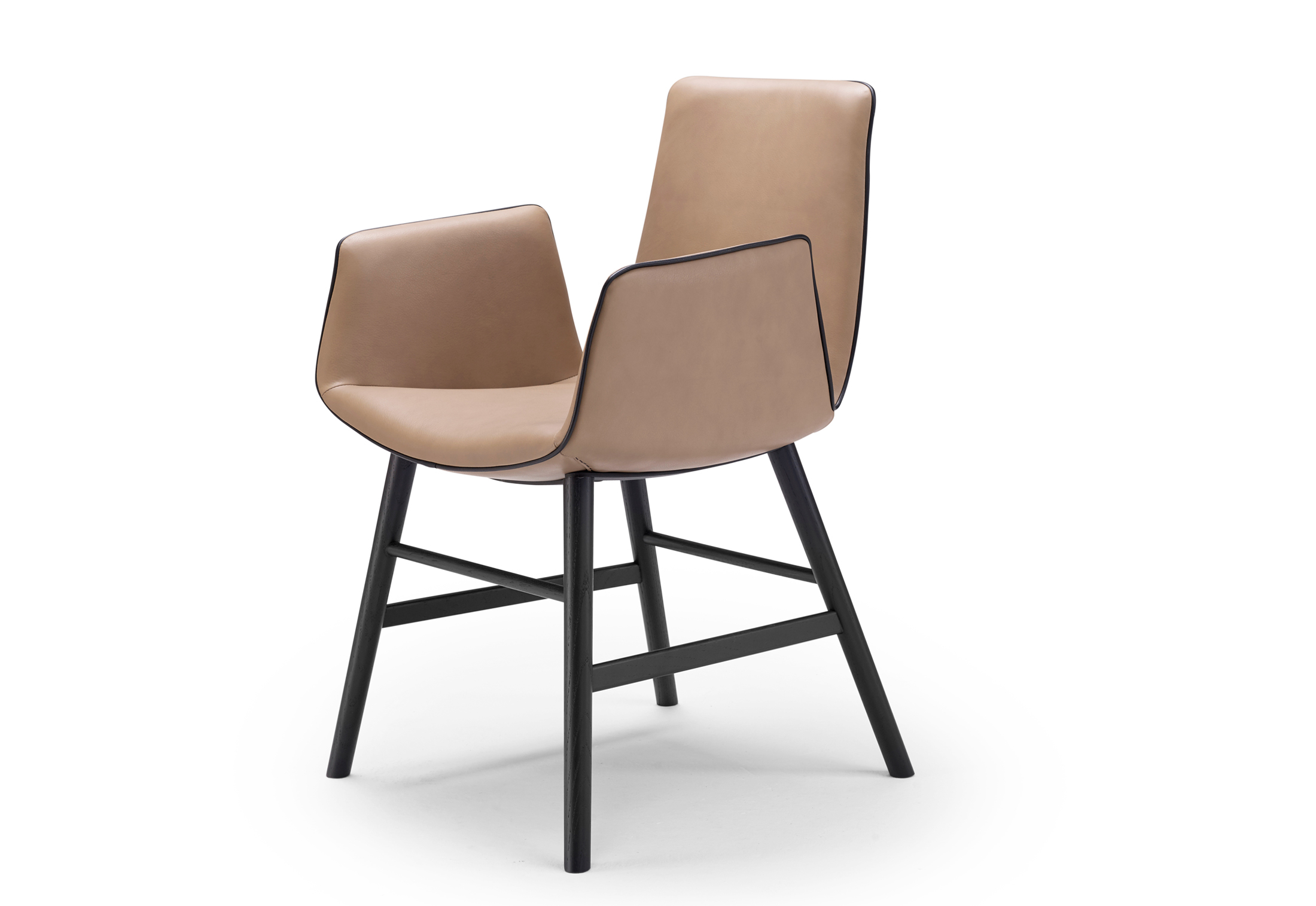 Amelie armchair with wooden frame round by Freifrau ...