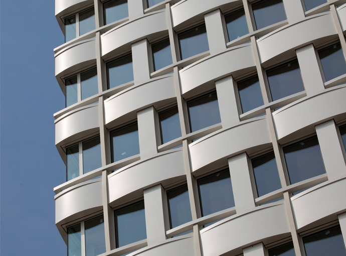 For The Façade Of The Agfa High Rise, Hild Und K Designed The Railings,  Pillars And Supporting Structure In The Form Of Interwoven Bands Like A  Fabric.