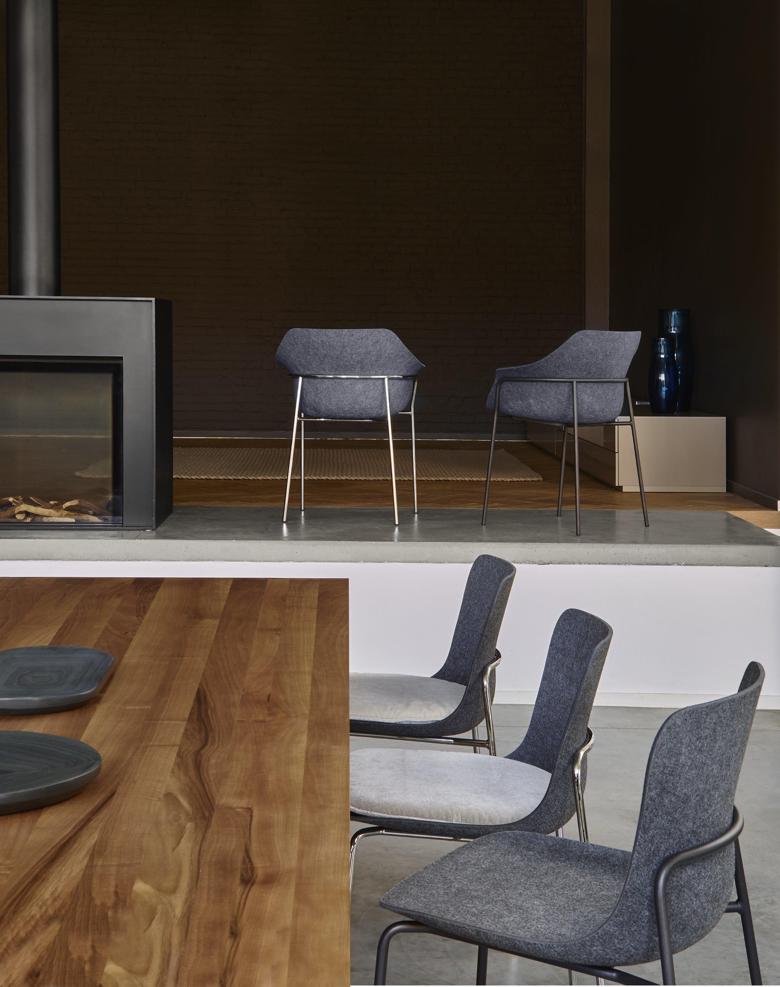 Ettoriano chair with armrests by ligne roset stylepark for Design stuhl filz