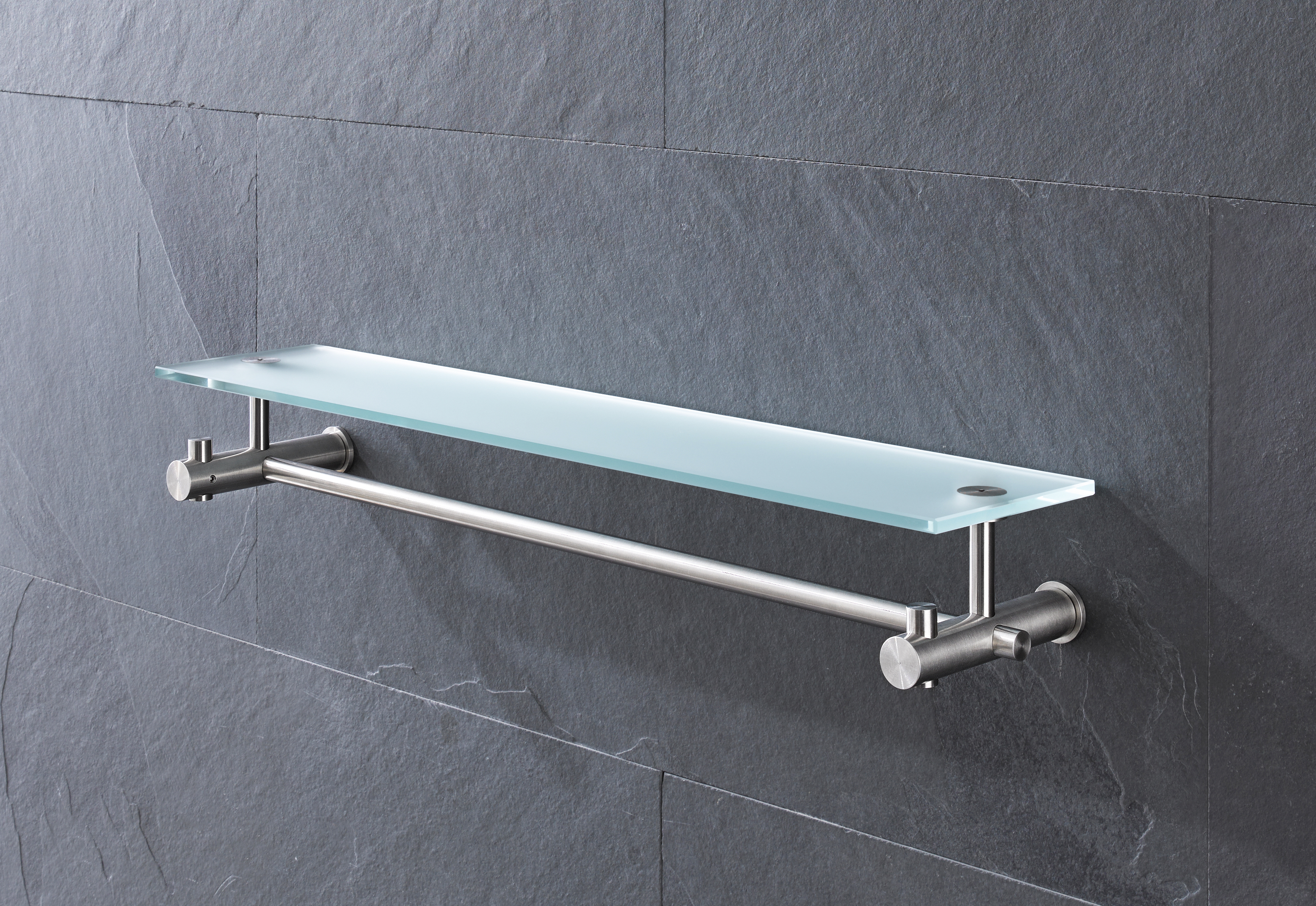 Towel rail with glass shelf G9-500G by PHOS | STYLEPARK