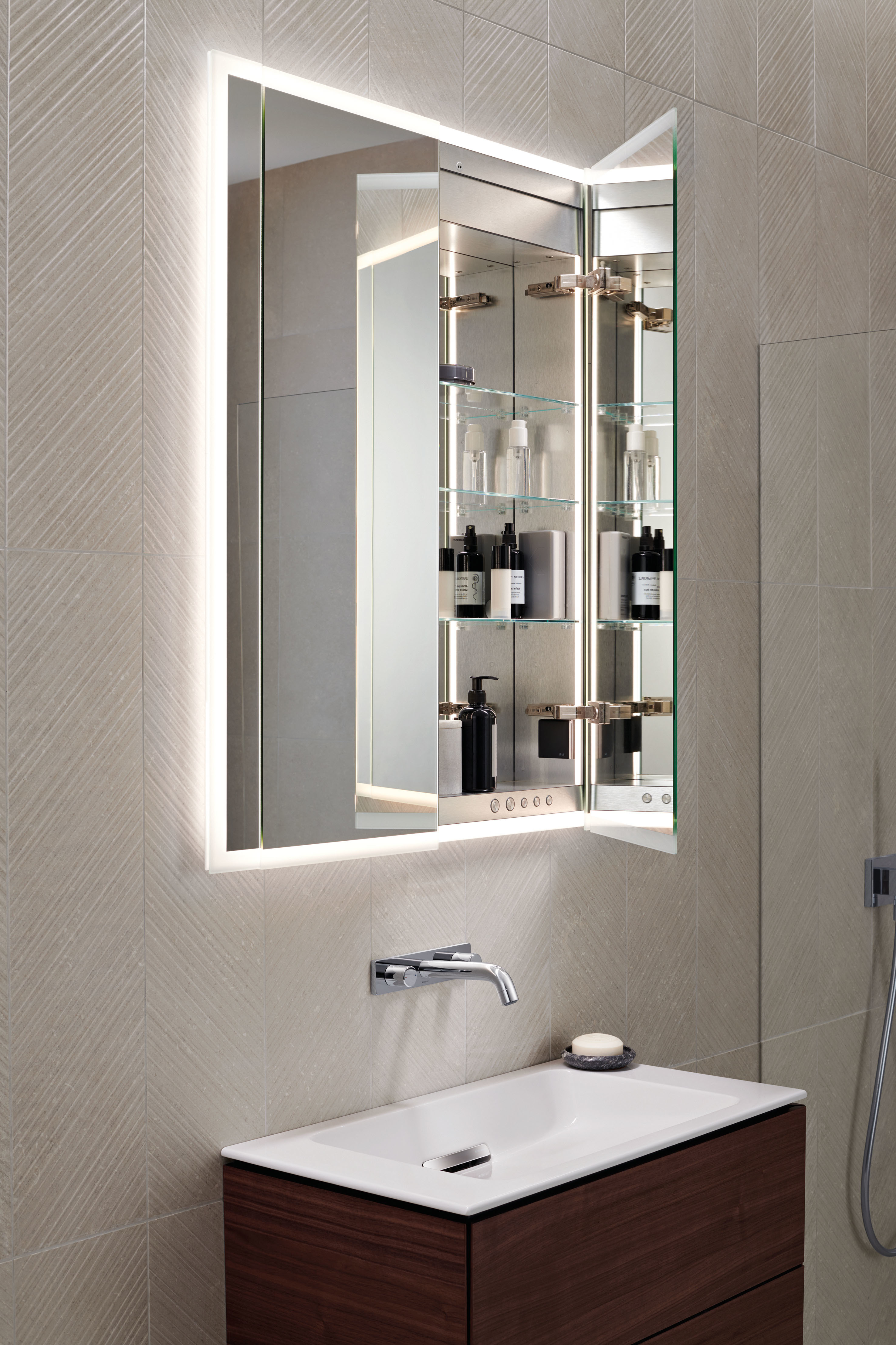 Geberit ONE mirror cabinet with lighting by Geberit  STYLEPARK