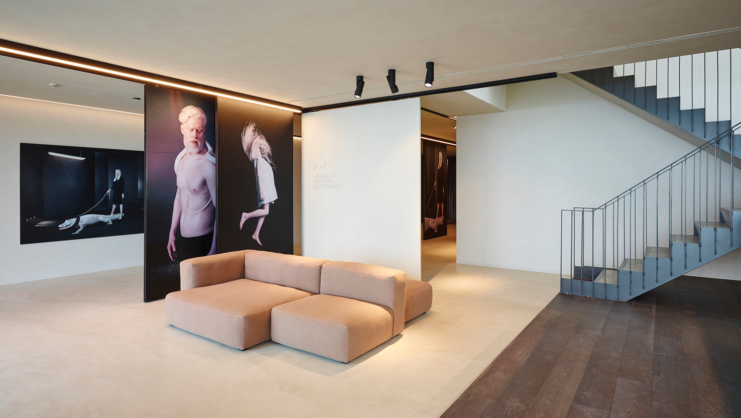 modular lighting instruments a lounge with sophisticated. Black Bedroom Furniture Sets. Home Design Ideas