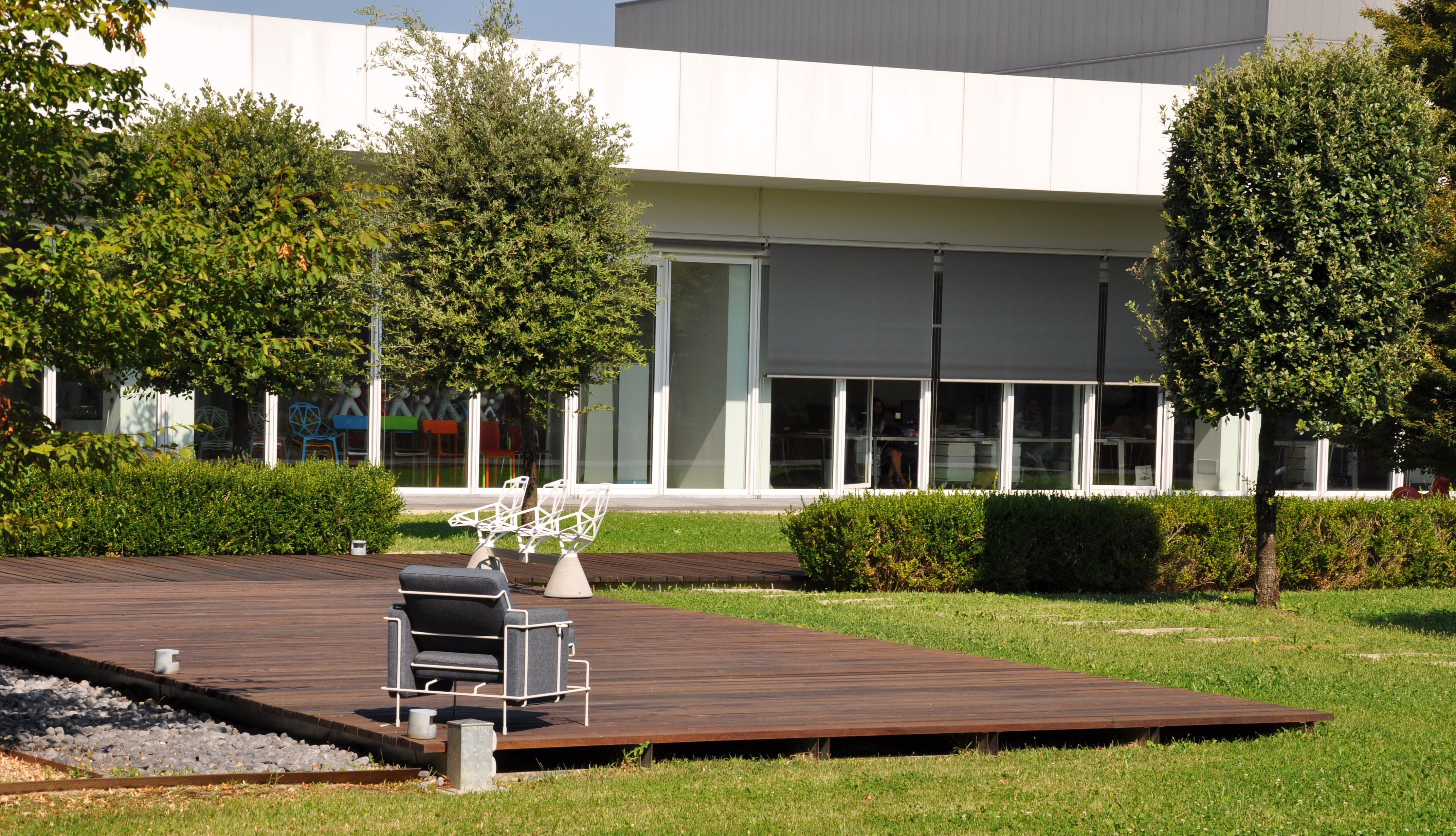 Outdoor Area At The Magis Headquarters With The Outdoor Version Of  Konstantin Grcicu0027s Lounger U201cTrafficu201d And His U201cChair One Public Seating  System 1u201d.