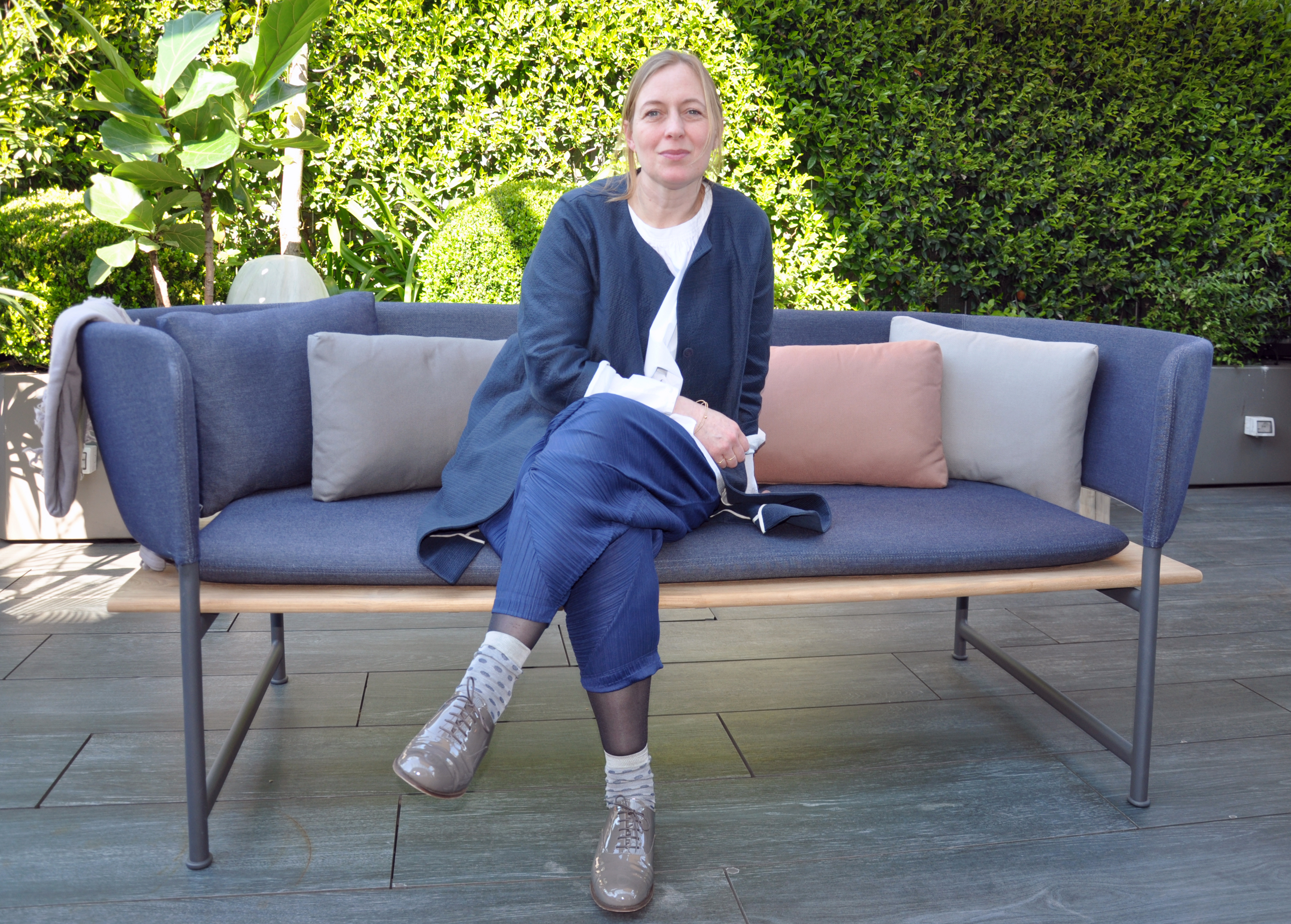 Danish Outside Cecilie Manz On The Bench Of Her New Collection Atmosphere Which Gloster Ropriately Presented Roof Terrace Me Il Duca