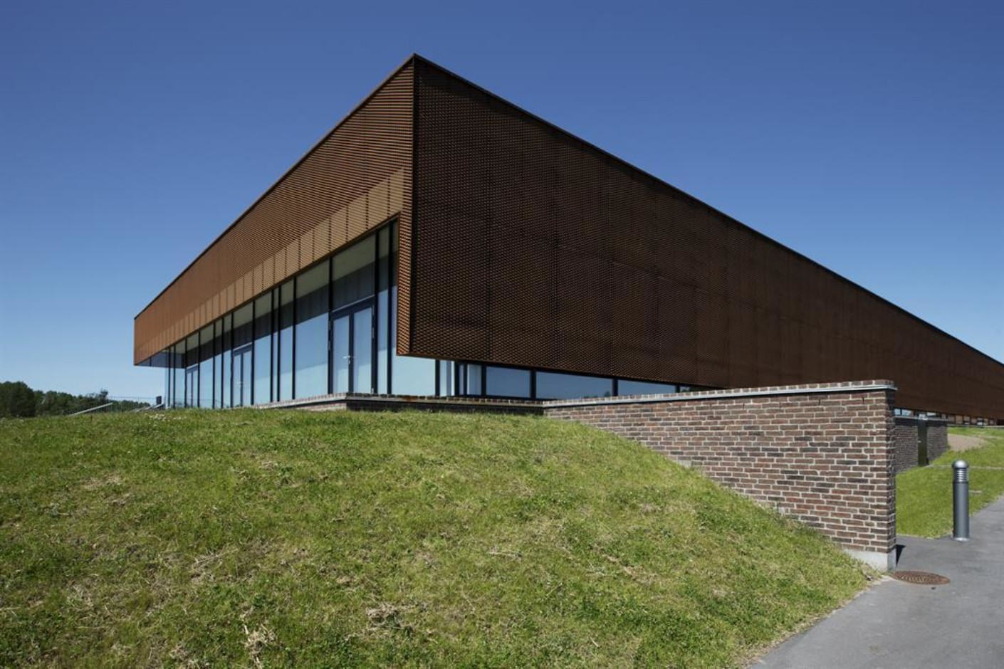 Perforated Sun Screens In Corten Sports Hall In Ringsted