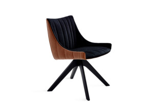 Rubie armchair low with wooden support base  by  Freifrau