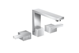 Axor Edge 3-Loch Waschtischarmatur mit Push-Open Ablaufgarnitur - Diamantschliff  von  Axor