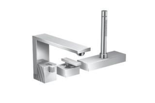 Axor Edge 3-hole rim mounted single lever bath mixer - diamond cut  by  Axor