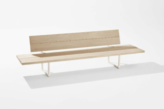 New Wood Plan bench with backrest and side table  by  Fast