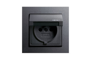 E2 socket outlet with hinged cover  by  Gira