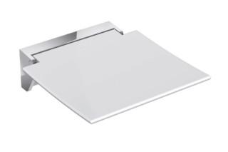 Mobiler Klappsitz 350 Sitzfläche Weiß oder Anthrazitgrau, Wandkonsole aus hochwertigem Edelstahl, hochwertig verchromt  von  HEWI