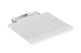 Mobiler Klappsitz 450 Sitzfläche Weiß oder Anthrazitgrau, Wandkonsole aus hochwertigem Edelstahl, hochwertig verchromt  von  HEWI