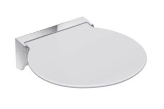 Mobiler Klappsitz R 380 Sitzfläche Weiß oder Anthrazitgrau, Wandkonsole aus hochwertigem Edelstahl, hochwertig verchromt  von  HEWI