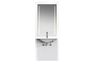 Waschtisch-Modul Weiß, Waschtisch M40.11.101, LED-Lichtspiegel  von  HEWI