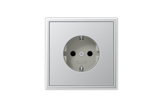LS 990 SCHUKO-Socket in aluminium  by  JUNG