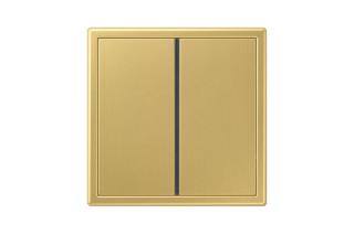 LS 990 F40 Push-button sensor 2-gang in classic brass  by  JUNG