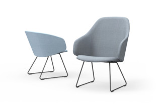 Sola lounge chair with armrests and sled base  by  Martela