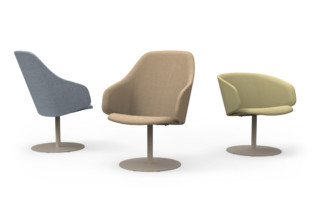 Sola lounge chair with armrests and swivel disc base  by  Martela