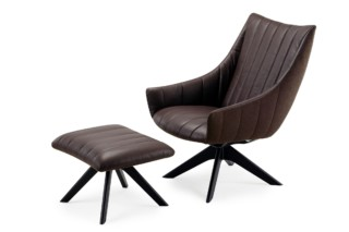 Rubie lounge chair with wooden support base  by  Freifrau