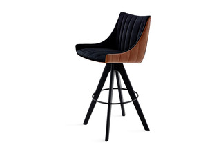 Rubie bar armchair low with wooden support base  by  Freifrau