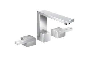Axor Edge 3-hole basin mixer with push-open waste set - diamond cut  by  AXOR