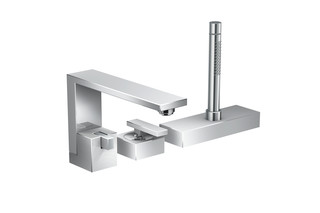 Axor Edge 3-hole rim mounted single lever bath mixer - diamond cut  by  AXOR