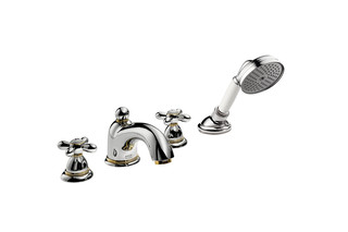 Axor Carlton 4-hole rim mounted bath mixer with cross handles  by  AXOR