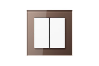 A Creation Glass F40 Push-button sensor 2-gang in mocha  by  JUNG
