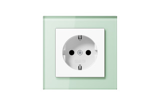 A Creation Glass SCHUKO-Socket in soft white  by  JUNG