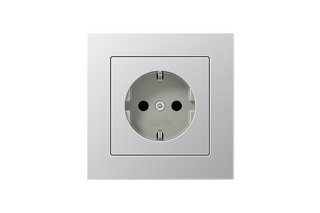 A Creation SCHUKO-Socket in aluminium  by  JUNG