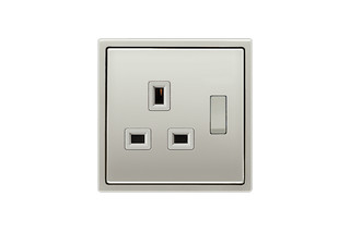 Switchable socket British Standard 5A in stainless steel  by  JUNG
