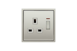 Switchable socket with indicator light British Standard in stainless steel  by  JUNG
