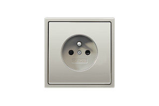 Socket with earth pin, French/Belgian in stainless steel  by  JUNG