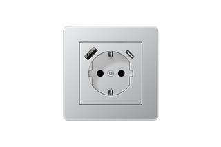 USB-A/C SCHUKO-Socket A flow Aluminium  by  JUNG