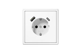 USB-A/C SCHUKO-Socket LS 990 white  by  JUNG