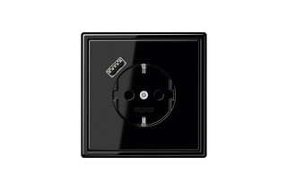 USB-A SCHUKO-Socket LS 990 black with Quick Charge  by  JUNG
