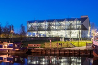 Perforated aluminium cladding, Parkhaus MSCP Queen Elizabeth Olympic Park in London  by  RMIG