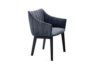 Rubie armchair high with wooden 4-leg frame  by  Freifrau