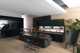 Genius Loci in matt slate glass with V-Motion  by  Valcucine