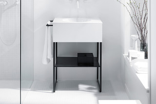 Coco mineral cast washbasin incl. vanity unit and metal legs  by  burgbad