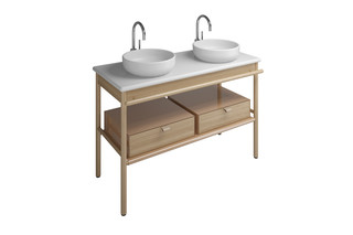 MYA Keramik-Aufsatzwaschtische mit Waschtischunterschrank und 2 Schubladen  von  burgbad