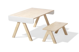Family Garage table and bench  by  Richard Lampert