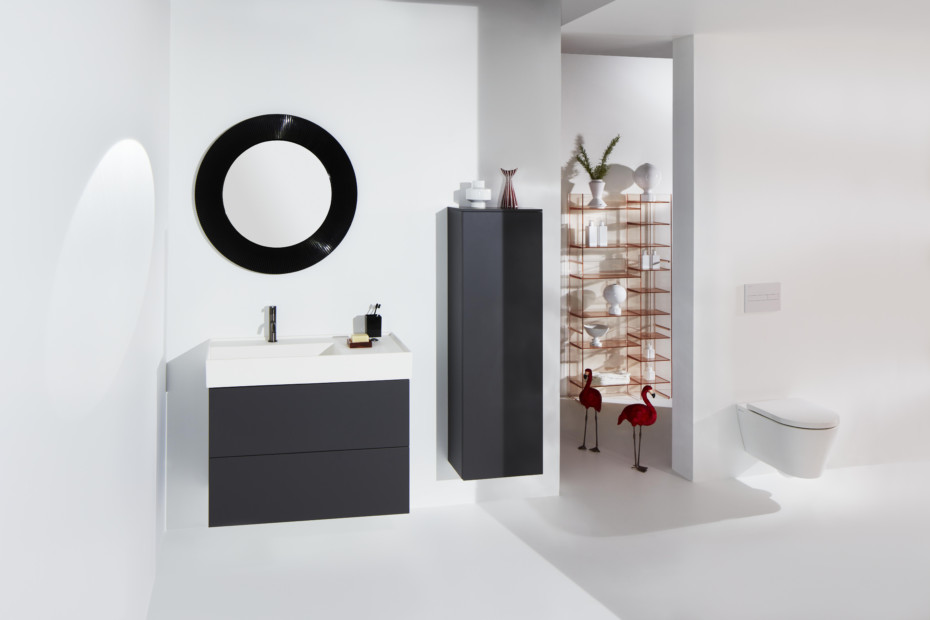 Washbasin with shelf & special hidden outlet