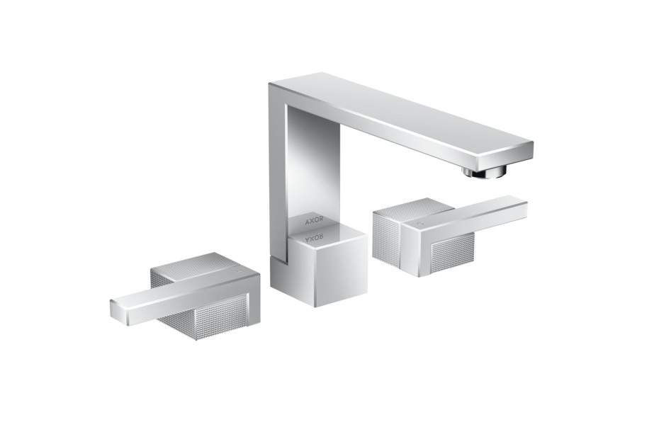 Axor Edge 3-hole basin mixer with push-open waste set - diamond cut