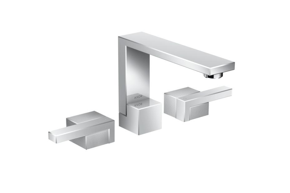 Axor Edge 3-Loch Waschtischarmatur mit Push-Open Ablaufgarnitur - Diamantschliff