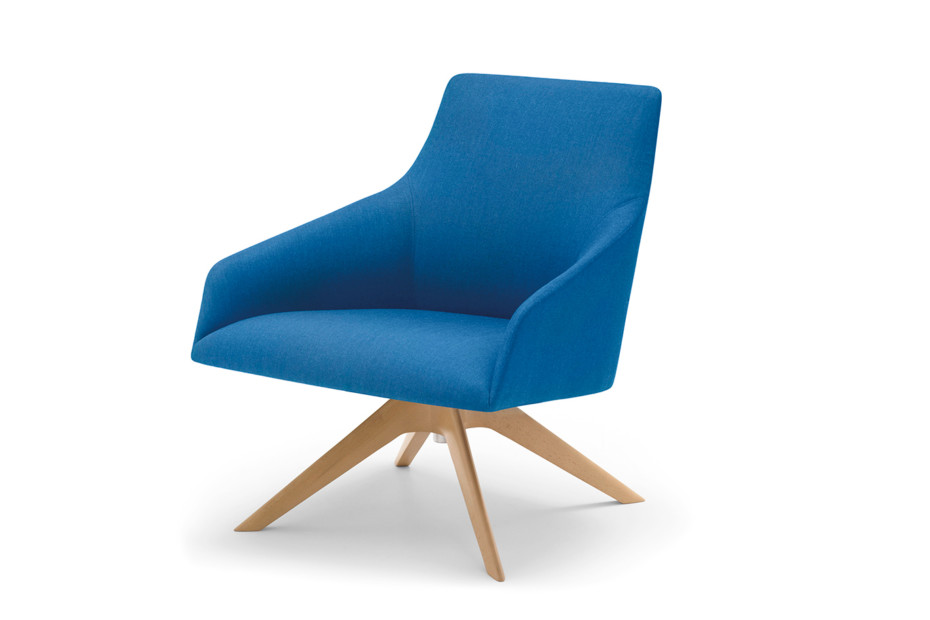 Alya lounge chair with wood base low back